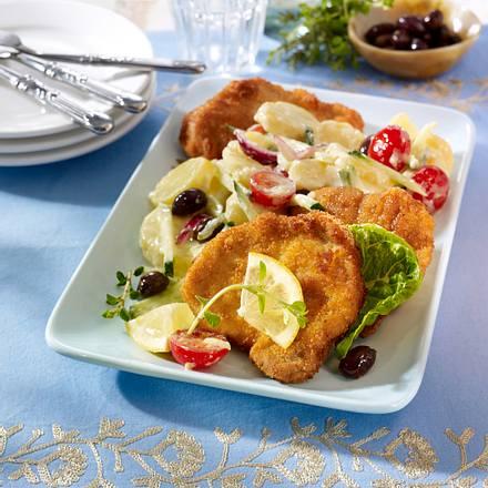 Gyrosschnitzel auf Tsatsiki-Kartoffelsalat Rezept