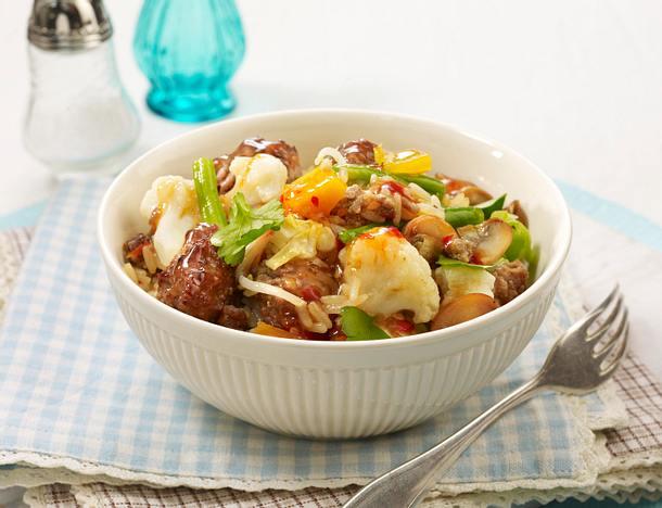 Hack-Reis-Gemüsepfanne Rezept