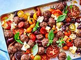 "Hackbällchen  ""Gyros-Art"" mit bunten Tomaten Rezept"
