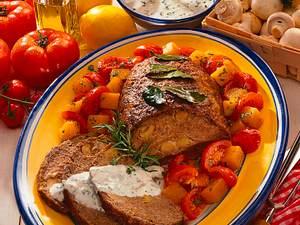 Hackbraten mit Champignons und Kürbis-Tomatengemüse Rezept