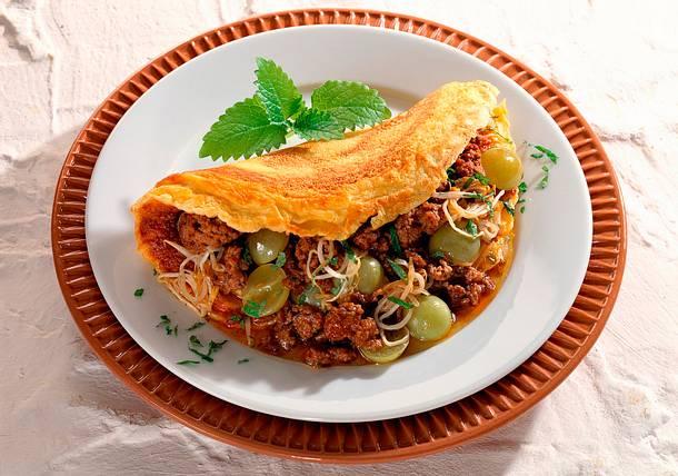 Hackfleisch-Omelett mit Trauben Rezept