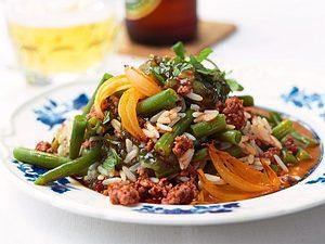 Hackpfanne mit Bohnen und Reis Rezept