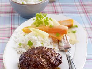 Hacksteak mit Kohlrabi-Möhrengemüse in Kerbel-Zitronensoße und Reis Rezept