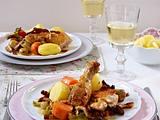 Hähnchen a la Coq au vin (Hähnchen in Weißwein) Rezept