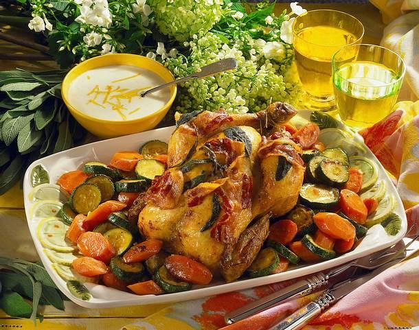Hähnchen auf Gemüse Rezept