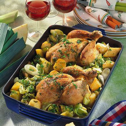 Hähnchen auf geschmortem Herbst-Gemüse Rezept