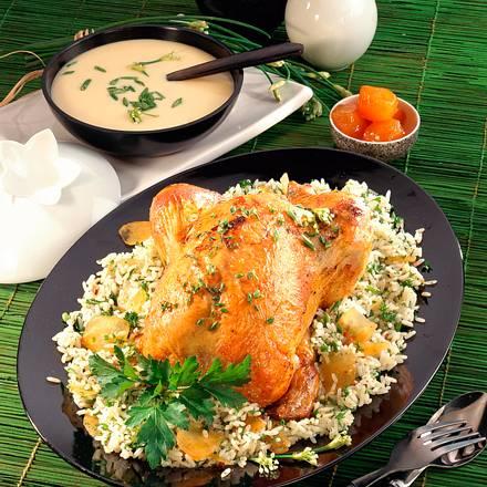 Hähnchen auf Kräuter-Ingwer-Reis Rezept