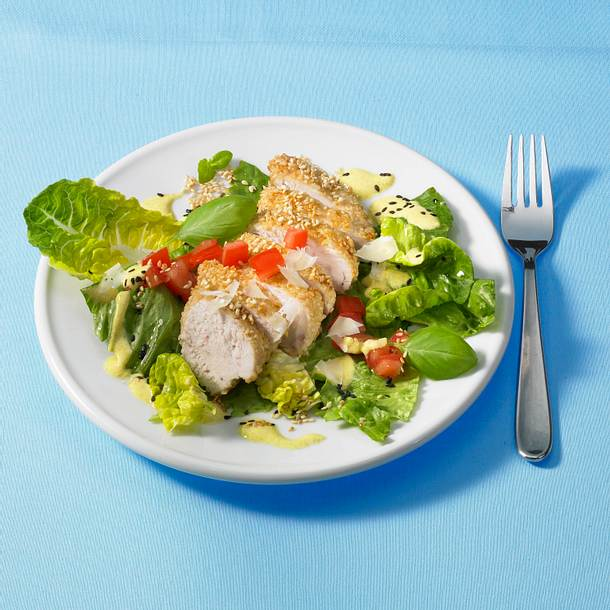 Hähnchen-Caesars Salat mit Curry Dressing Rezept