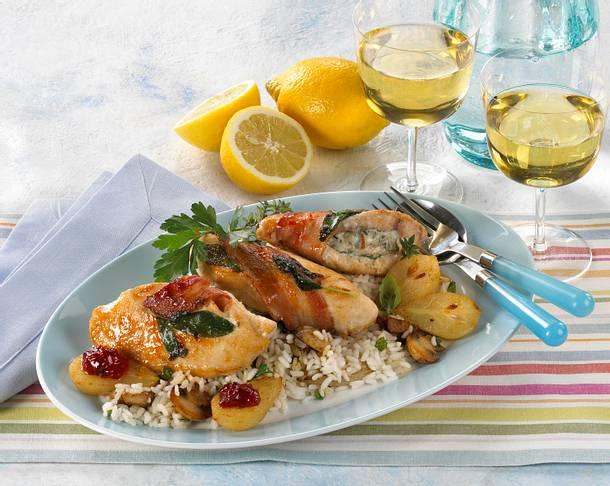Hähnchen Cordon Bleu mit Champignon-Risotto Rezept