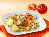 Hähnchen Cordon Bleu mit Erbsen, Champignons und Kartoffelpüree Rezept