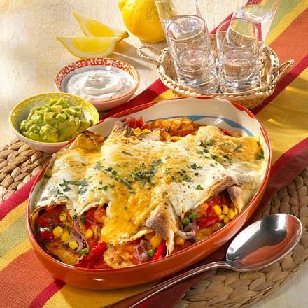 Hähnchen-Enchiladas mit zwei Dips Rezept