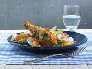 Hähnchen in Parmesan-Kräuter-Brösel mit Salat Rezept