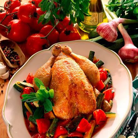 Hähnchen in Tomaten-Zucchini-Gemüse Rezept