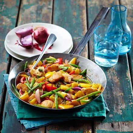 Hähnchen-Kartoffel-Pfanne mit grünen Bohnen Rezept