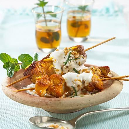 Hähnchen-Kebab mit Minzjoghurtsoße Rezept