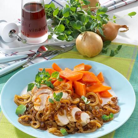 Hähnchen mit Balsamico-Zwiebeln Rezept