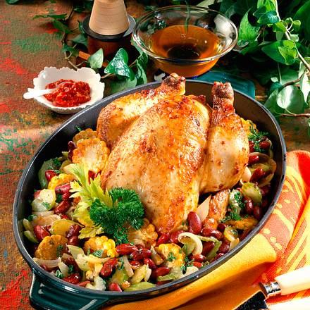 Hähnchen mit Bohnen-Mais-Gemüse Rezept