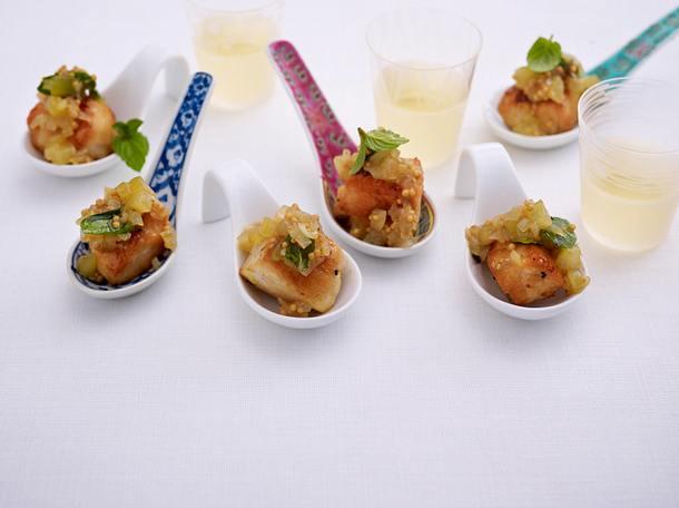 Hähnchen mit Gurken-Minz-Relish Rezept