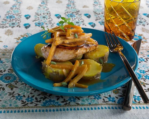 Hähnchen mit Orangen-Marmelade und Knollensellerie Rezept
