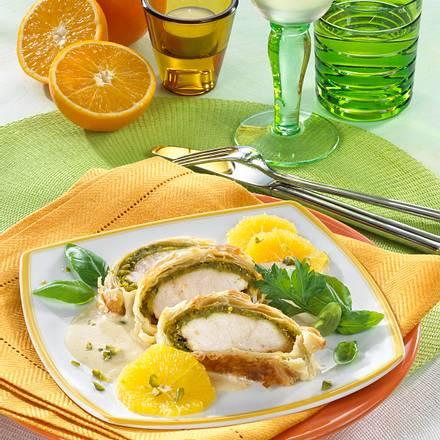 Hähnchen mit Pistazien in Blätterteig Rezept