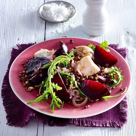 Hähnchen mit Rote Bete und Linsen Rezept