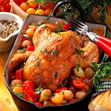 Hähnchen mit Schalotten-Tomatengemüse Rezept