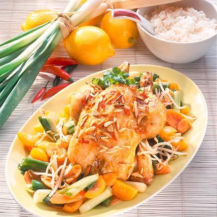 Hähnchen mit süßsaurer Kruste zu fruchtigem Gemüse Rezept