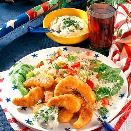Hähnchen-Nuggets mit Tomatenrisotto Rezept