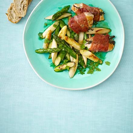 Hähnchen-Saltimbocca mit gebratenem Spargel in Zitrus-Vinaigrette Rezept