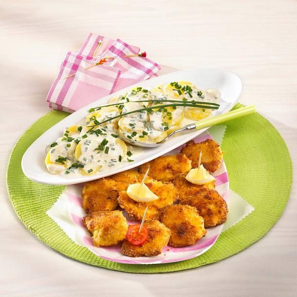 Hähnchen-Schnitzel mit Meerrettich-Kartoffelsalat Rezept