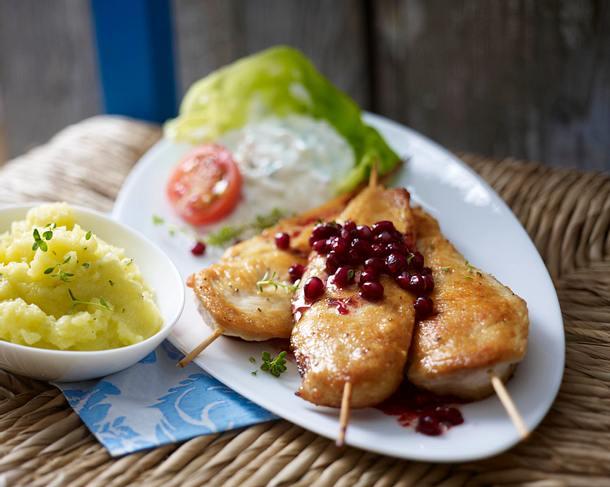 Hähnchen-Souflaki mit Granatapfel-Thymiansoße und Skordalia (Kartoffel-Knoblauch-Paste) Rezept