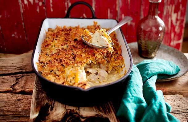 Hähnchenauflauf mit Senf und Cheddar Rezept
