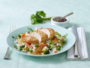 Hähnchenbrust in Basilikumsoße mit Gemüsereis (Diäko 4 Tag Hauptgericht) Rezept