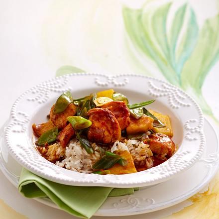 Hähnchencurry mit Reis Rezept