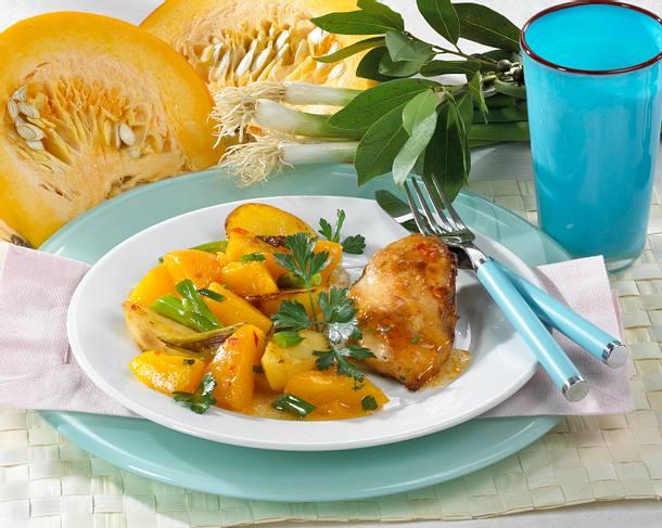 Hähnchenfilet mit Kartoffel-Kürbis-Lauchzwiebel-Gemüse Rezept