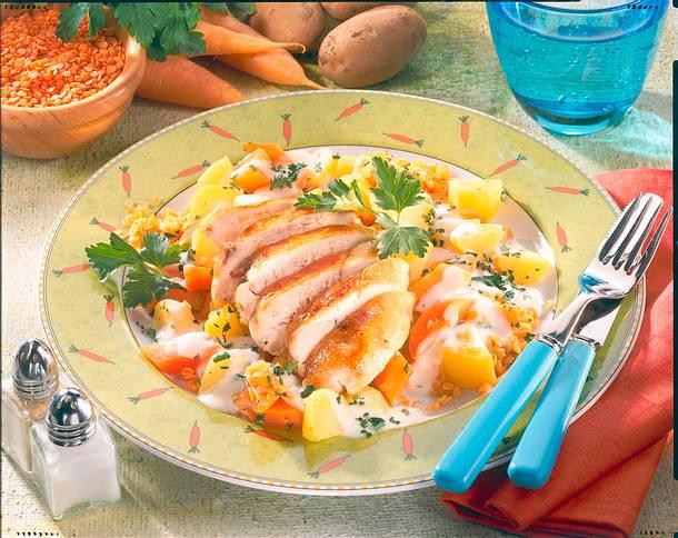 Hähnchenfilet mit Kartoffel-Möhrengemüse Rezept