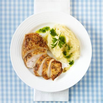 Hähnchenfilet mit Selleriepüree und Petersilien-Öl (Trennkost, Eiweiß-Gericht) Rezept