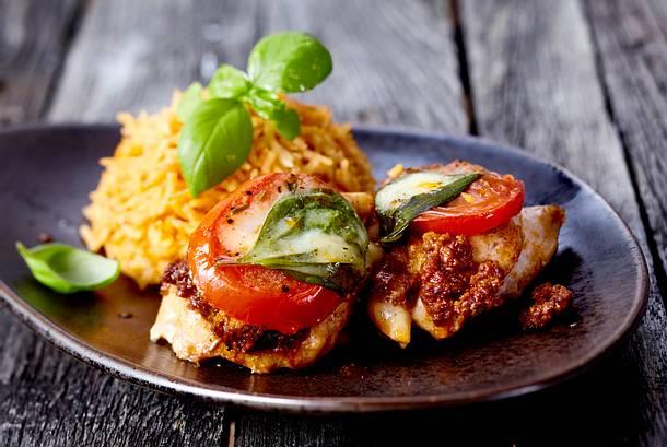 Hähnchenfilet Toskana mit Tomatenreis Rezept
