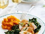 Hähnchenfilet zu Bärlauch-Spinat und Süßkartoffelpüree Rezept