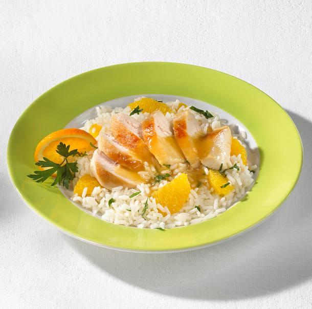 Hähnchenfilets mit Orangenreis Rezept