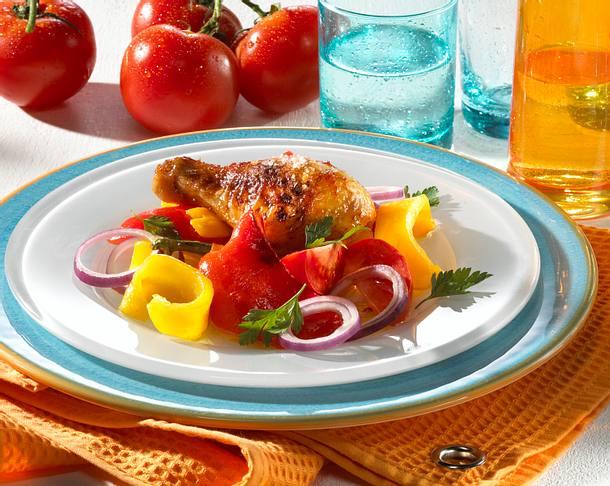 Hähnchenkeule mit Paprikagemüse Rezept