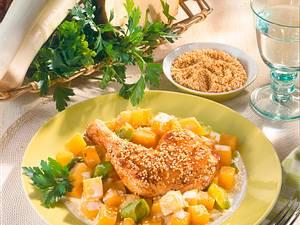 Hähnchenkeule mit Steckrüben-Porreegemüse Rezept