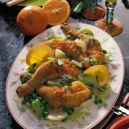 Hähnchenkeulen auf Bûchamel-Gemüse Rezept