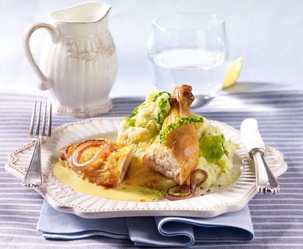 Hähnchenkeulen auf Wirsing-Kartoffel-Püree und Honig-Senf-Soße Rezept