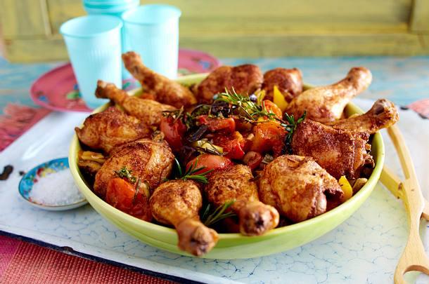 Hähnchenkeulen und Ratatouille vom Blech Rezept