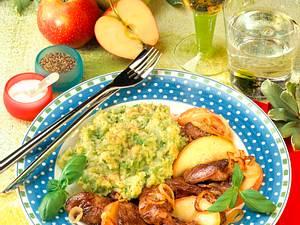 Hähnchenleber mit Kartoffel-Erbsen-Püree Rezept