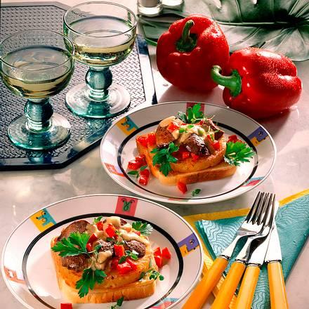 Hähnchenlebertoast mit Ananas Rezept