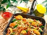 Hähnchenpfanne mit feuriger Soße Rezept