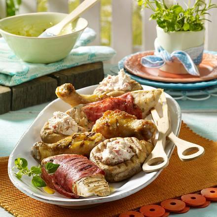 Hähnchenplatte à la Provence mit gefüllten Champignons Rezept