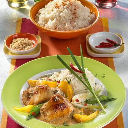 Hähnchenrouladen in Curry Kokossoße Rezept